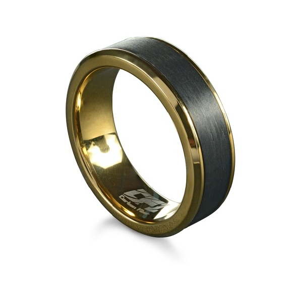 Stainless Steel with Yellow Ion Plating 7mm Carbon Fibre Band by Italgem Steel- Size 11 1/2