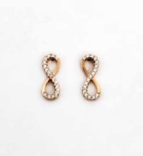 Infinity with Cubic Zirconia 10K Rose Gold Stud Earrings