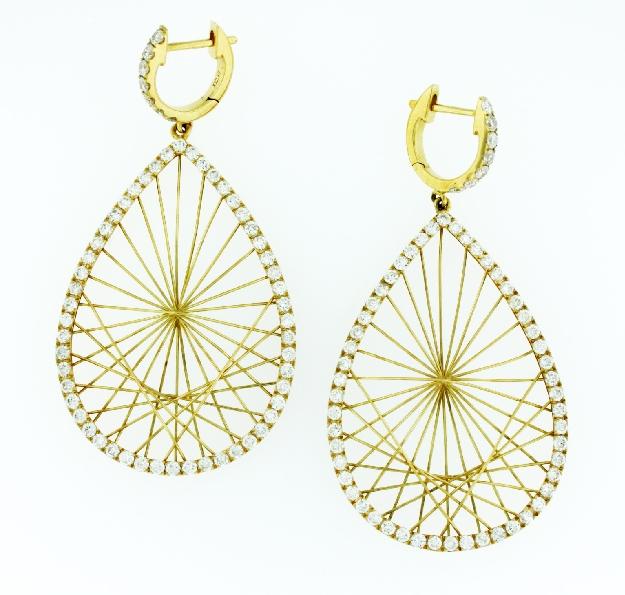 2.40ctw Diamond Fan Shape Drop 18K Yellow Gold Earrings