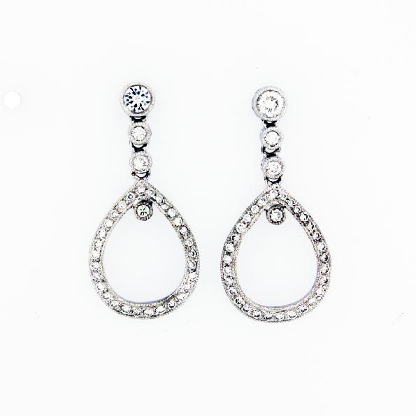 0.46ctw Diamond Pear Shape Dangle 18K White Gold Earrings