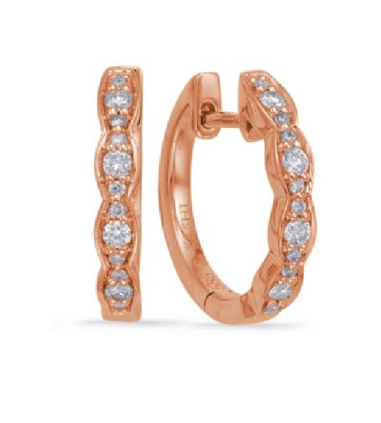 0.18ctw Diamond SI1 Clarity; G Colour Marquise Shapes 14K Rose Gold Huggie Earrings