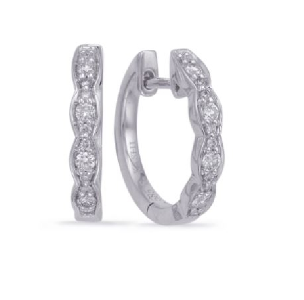 0.18ctw Diamond SI1 Clarity; G Colour Marquise Shapes 14K White Gold Huggie Earrings