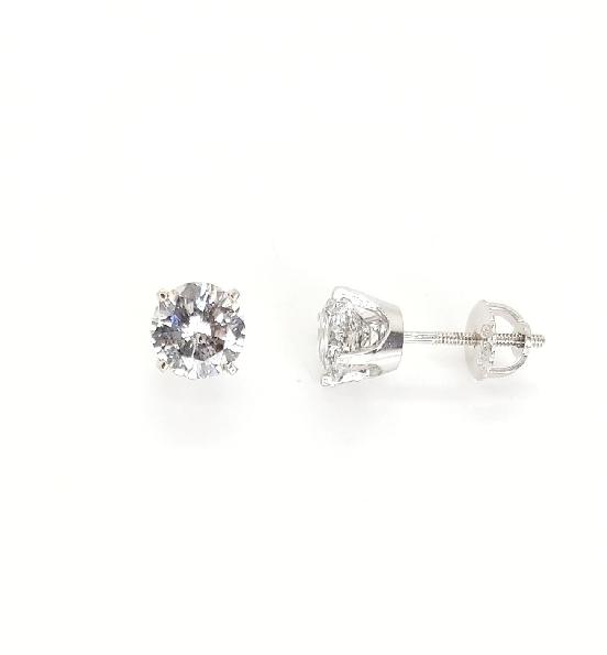 2.14ctw Diamond I3 Clarity; H Colour 14K White Gold Stud Earrings