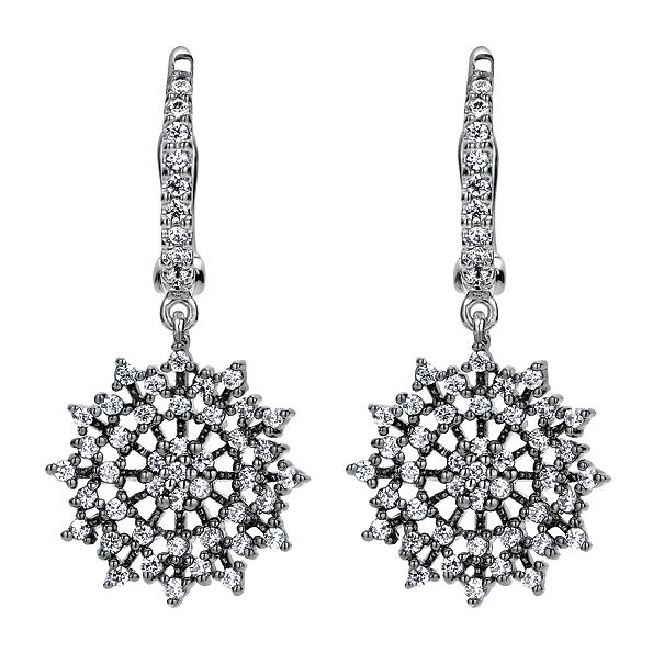0.65ctw Diamond Flower Dangle with Black Rhodium Finish 14K White Gold Earrings