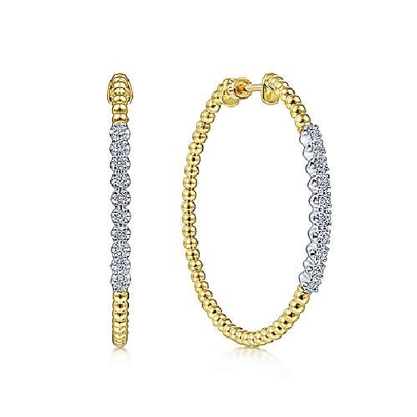 0.42ctw Diamond 40mm Beaded 14K Yellow Gold Safety Hoop Earrings from the Bujukan Collection by Gabriel & Co. - Serial No. S1218655