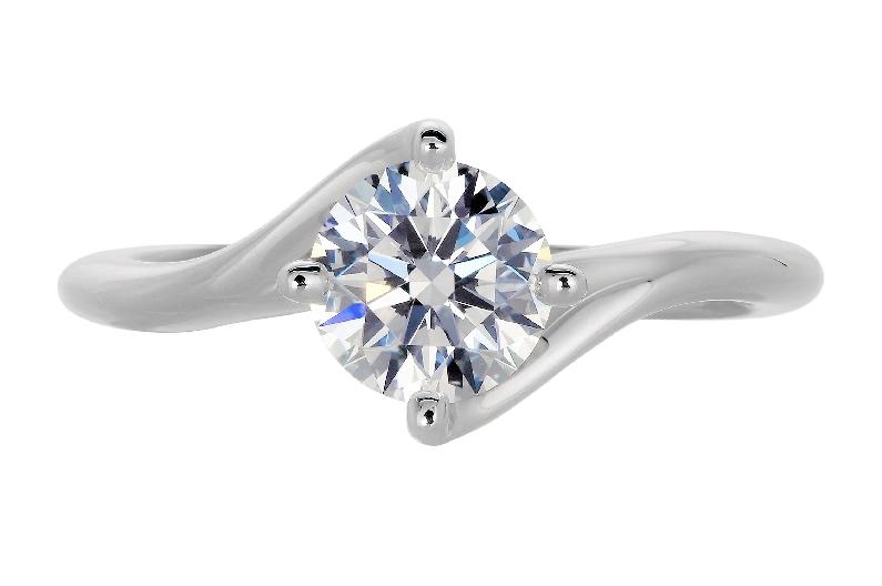 1.15ct Round Diamond VS1 Clarity; E Colour (GIA#2165635791) Claremont Twins Solitaire 18K White Gold Ring by Lazare Kaplan