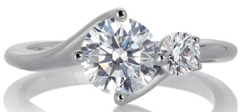 1.03ct Round Diamond VS2 Clarity; H Colour (AGS#104079106006) and 0.23ct Round Diamond VS1 Clarity; G Colour Claremont Twins Two Stone 18K White Gold Ring by Lazare Kaplan