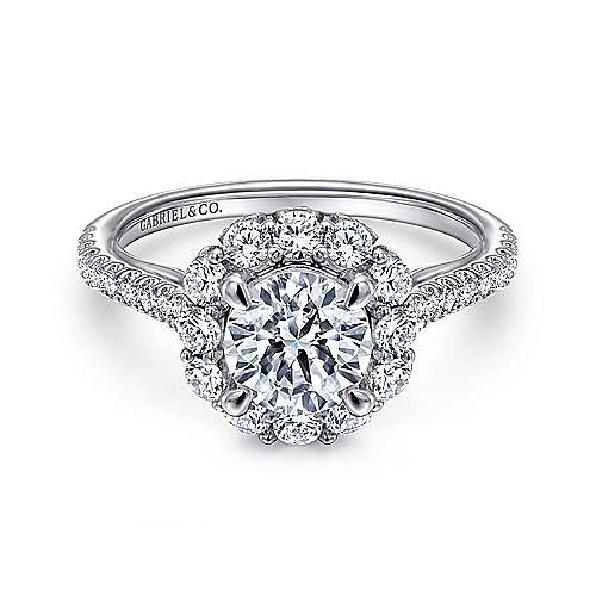 0.93ctw Diamond VS Clarity; GH Colour Halo Cubic Zirconia Centre 18K White Gold Ring - Amavida by Gabriel & Co. - Serial No. S899053
