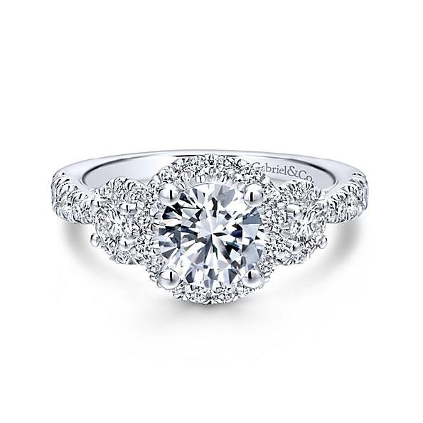 0.99ctw Diamond SI2 Clarity; GH Colour Round Three Stone Halo 14K White Gold Ring - Serial No. S791232