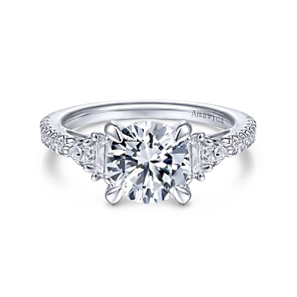 0.49ctw Diamond Round; Baguette and Pear Shapes VS Clarity; GH Colour Round Cubic Zirconia Centre 18K White Gold Ring - Amavida By Gabriel - Serial No. S1041313