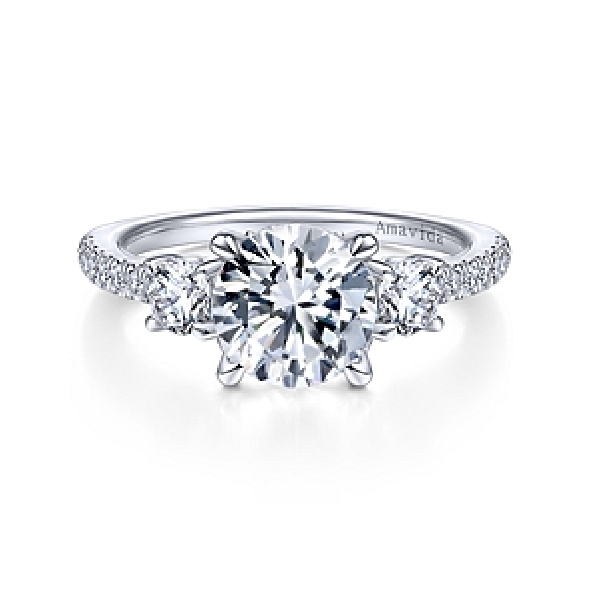 0.76ctw Diamond VS Clarity; GH Colour Three Stone with Accented Shoulders set with Round Cubic Zirconia Centre 18K White Gold Ring - Amavida By Gabriel - Serial No. S1041315