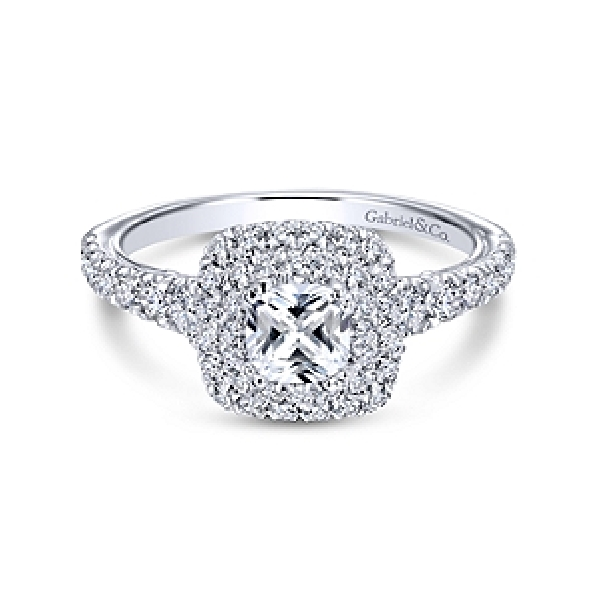 1.09ctw Diamond SI2 Clarity; GH Colour Round Double Halo 14K White Gold Adore Ring by Gabriel & Co. - Serial No. S1041327