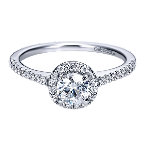 0.71ctw Diamond SI2 - I1 Clarity; GH Colour Round Halo 14K White Gold Adore Ring by Gabriel & Co. - Serial No. S1041328