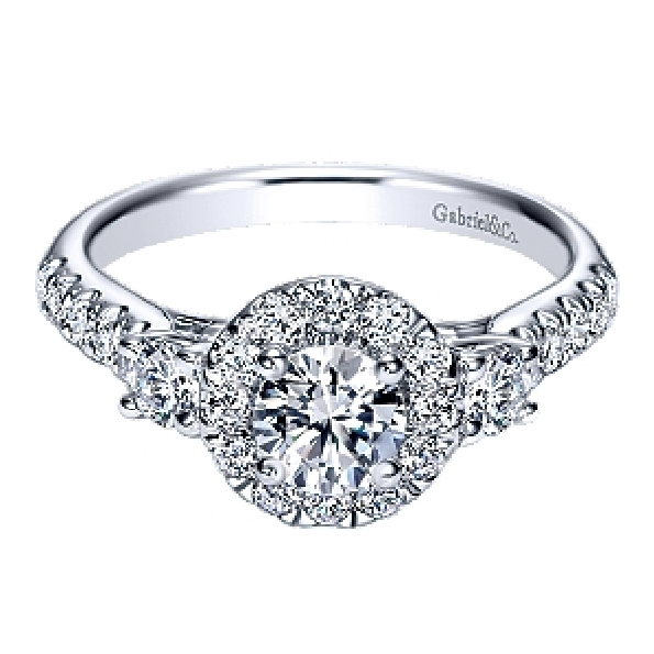 1.21ctw Diamond SI2 Clarity; GH Colour Three Stone Halo 14K White Gold Adore Ring by Gabriel & Co. - Serial No. S1041332