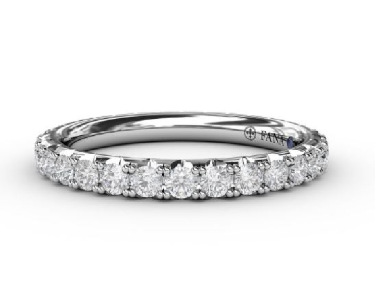 0.97ctw Diamond VS-SI Clarity; FG Colour Pave Set with Blue Sapphire Signature Stone 14K White Gold Eternity Band by Fana