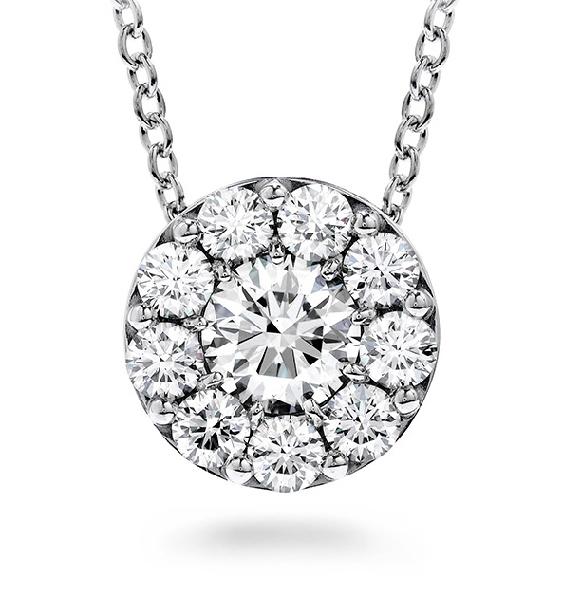 0.99ctw Hearts on Fire Diamond VS-SI Clarity; IJ Colour Fulfillment 18K White Gold Pendant and Chain
