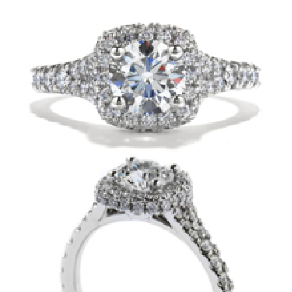 0.705ct Hearts on Fire Diamond VS1 Clarity; I Colour Signature (HOF124931) set in 0.765ctw Acclaim VS-SI Clarity; IJ Colour 18KW Ring