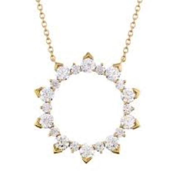 1.70ctw Hearts on Fire Diamond VS-SI Clarity; IJ Colour Aerial Eclipse 18K Yellow Gold Necklace