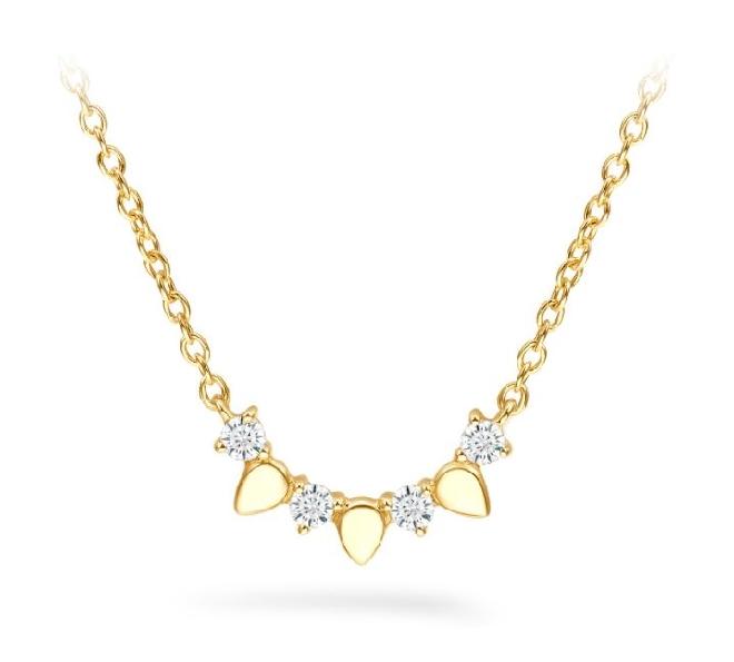 0.10ctw Hearts on Fire Diamond VS-SI Clarity; IJ Colour Aerial Solar Eclipse Diamond 18K Yellow Gold Necklace