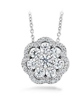 1.41ctw Hearts on Fire Diamond VS-SI Clarity; GH Colour Aurora Cluster 18K White Gold Pendant and Chain