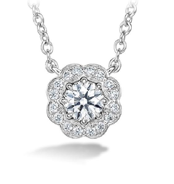 0.47ctw Hearts on Fire Diamond VS-SI Clarity; GH Colour Lorelei Halo 18K White Gold Necklace