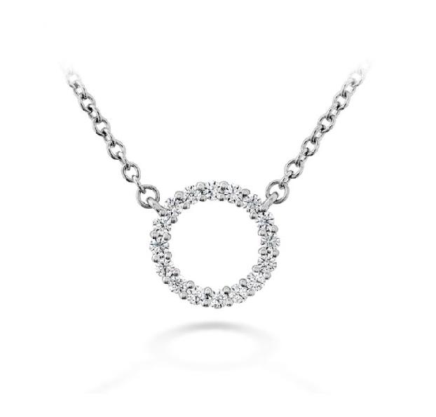 0.12ctw Hearts on Fire Diamond VS-SI Clarity; GH Colour Signature Circle Small 18K White Gold Necklace - 18 Inch