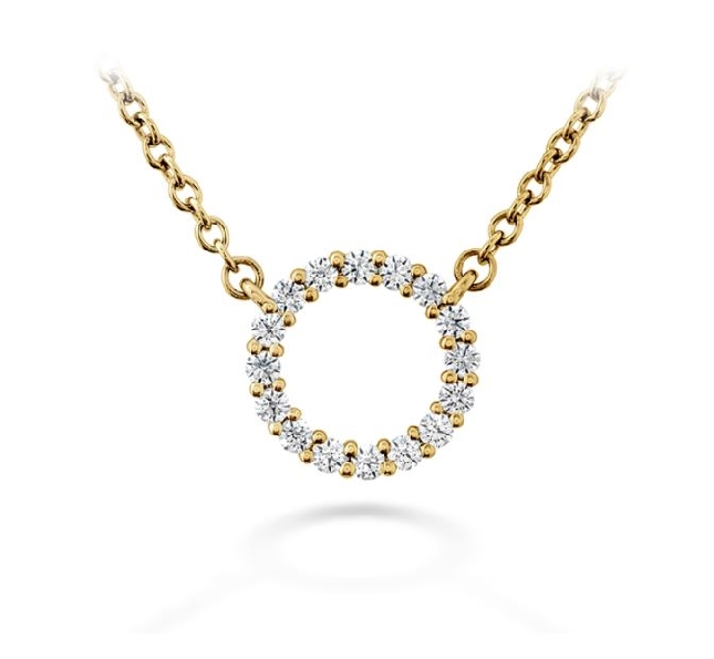 0.12ctw Hearts on Fire Diamond VS-SI Clarity; GH Colour Signature Circle Small 18K Yellow Gold Necklace - 18 Inch