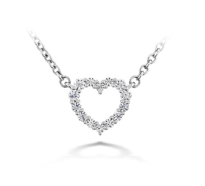 0.12ctw Hearts on Fire Diamond VS-SI Clarity; GH Colour Signature Heart Small 18K White Gold Necklace - 18 Inch
