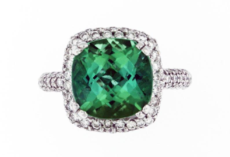 Cushion Cut Green Tourmaline 4.48ct set with 1.22ctw Pave Set Diamond 18K White Gold Ring - Size 6 1/2