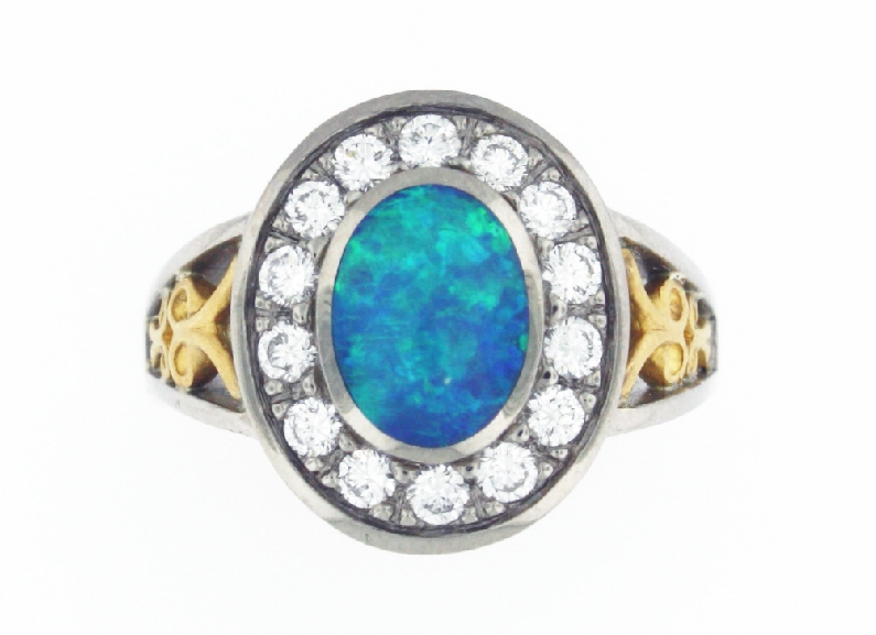 Black Opal with 0.43ctw Diamond 18K White Gold with 22K Yellow Gold Ring -Size 6 1/4