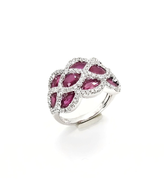 Ruby 3.24ctw set with 0.75ctw Diamond 18K White Gold Ring by Gregg Ruth - Size 6 1/2