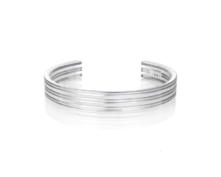 Tacori Gents 11mm Monterey Roadster Racing Lines Sterling Silver Open Cuff Bangle