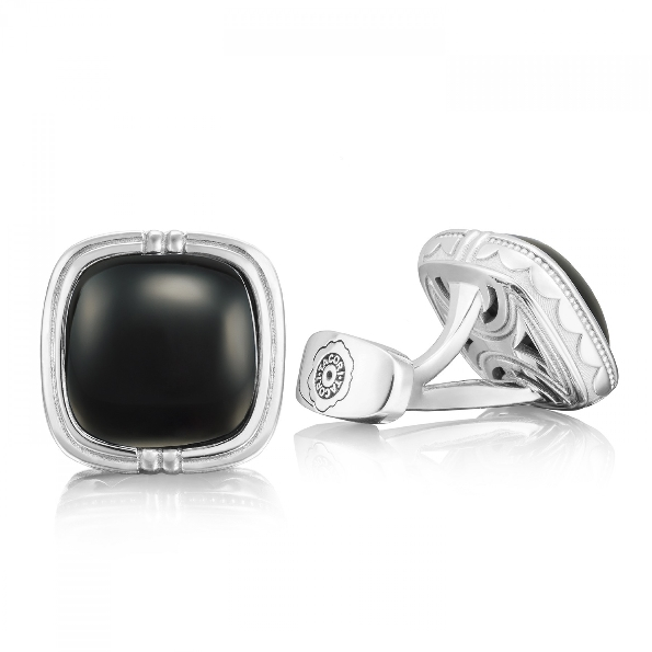 Tacori Gents Black Onyx 13X13mm Cushion Sterling Silver Cuff Links