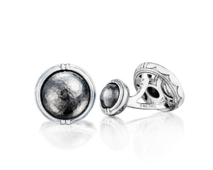 Tacori Gents Retro Classic Cabochon Oxidised Hammered Finish Sterling Silver Cuff Links