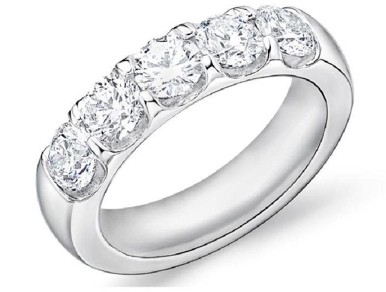 Odessa 5 Stone 1.958ctw Diamond SI Clarity; GH Colour 18K White Gold Band by Memoire