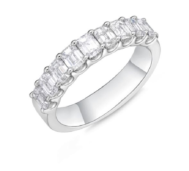Geo Arts 9 Stone Emerald Cut 1.78ctw Diamond SI Clarity; GH Colour 18K White Gold Band by Memoire