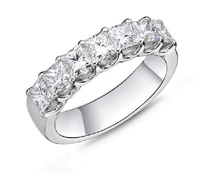 Geo Arts 7 Stone Princess Cut 2.255ctw Diamond SI Clarity; GH Colour 18K White Gold Band by Memoire