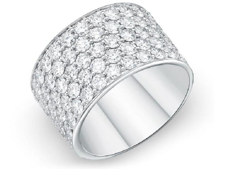 Pave Silk 2.104ctw Diamond SI Clarity; GH Colour 18K White Gold Band by Memoire