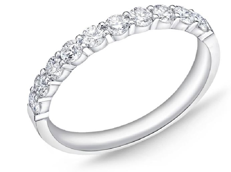 Petite Prong 10 Stone 0.502ctw Diamond SI Clarity; GH Colour 18K White Gold Band by Memoire