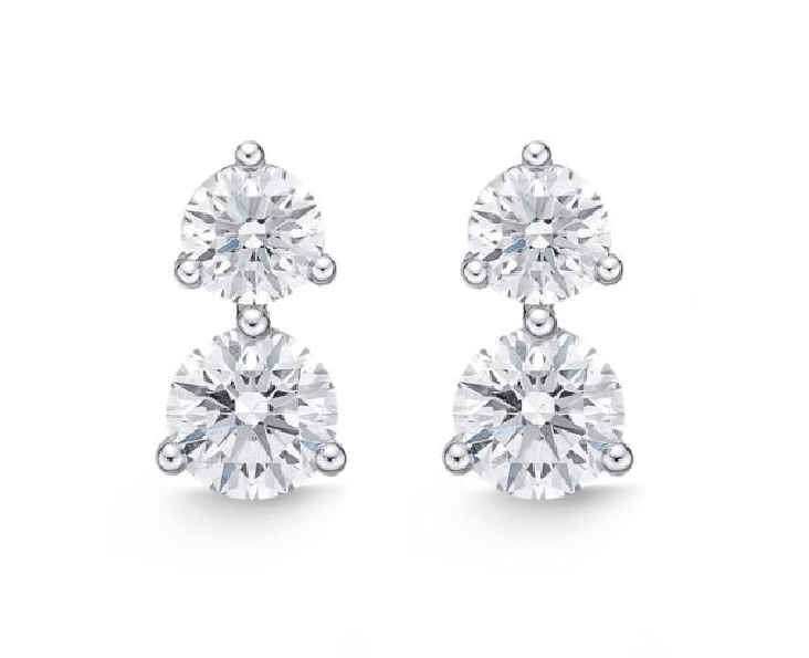 Double Diamond 0.849ctw Diamond SI Clarity; GH Colour 18K White Gold Stud Earrings by Memoire