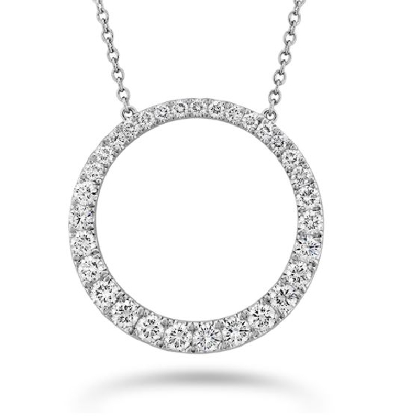 Graduated Circle 1.027ctw Diamond SI Clarity; GH Colour 18K White Gold Necklace by Memoire