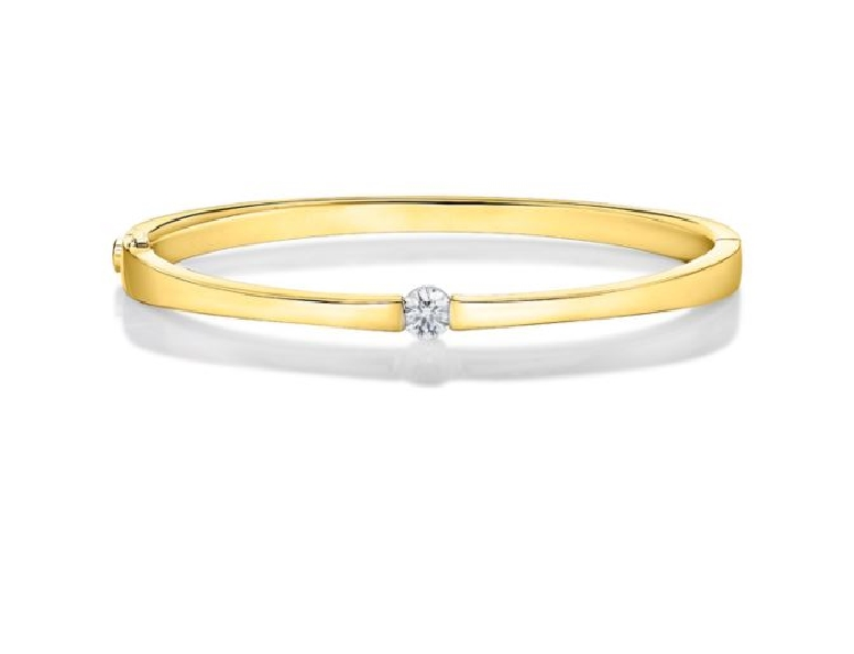 0.401ct Diamond SI Clarity; GH Colour Single Stone 18K Yellow Gold Bangle by Memoire
