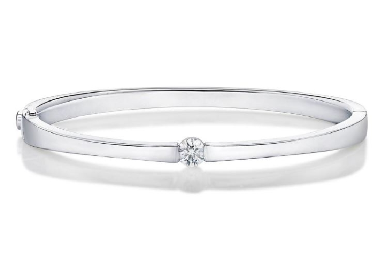 0.391ct Diamond SI Clarity; GH Colour Single Stone 18K White Gold Bangle by Memoire