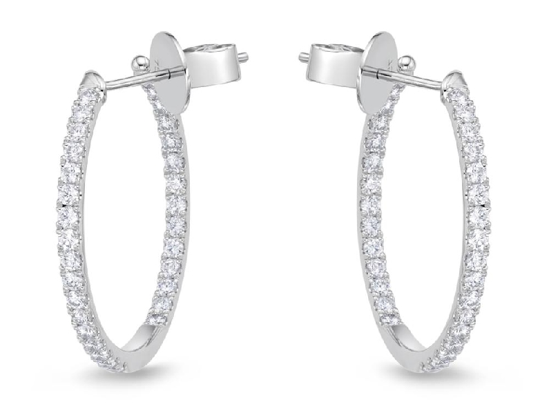 Round Shared Prong 0.98ctw Diamond SI Clarity; GH Colour 18K White Gold Hoop Earrings by Memoire