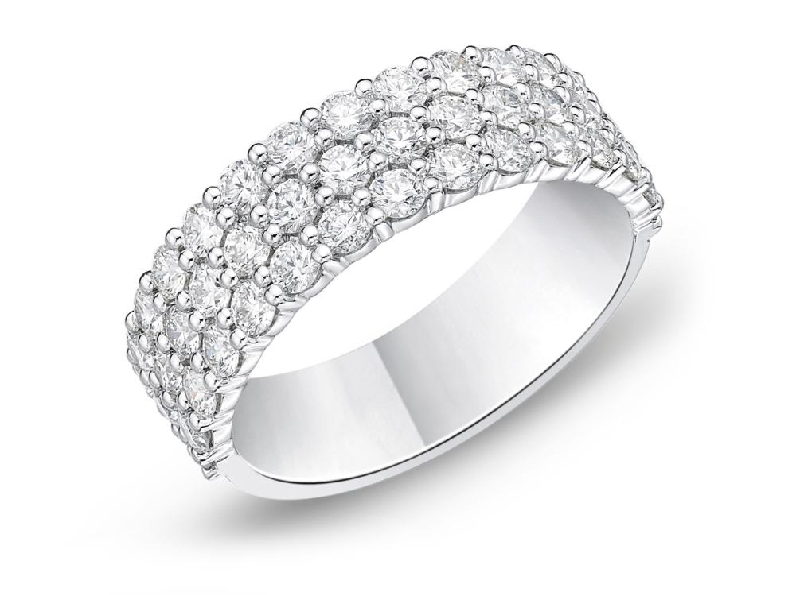 Paramount Half Round 1.631ctw Diamond SI Clarity; GH Colour 18K White Gold Triple Row Band by Memoire