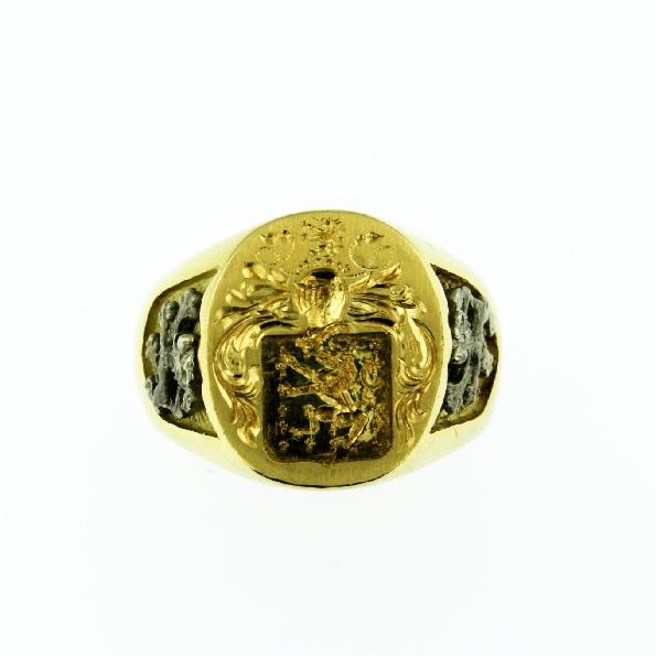 Large Aquitane Signet with Lion Rampant Applique 18K Yellow Gold Ring by Coeur De Lion