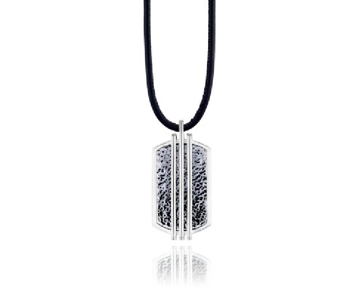 Tacori Gents Legend Racing Lines High Polished with Hammered Oxidised Finish Sterling Silver Pendant on 30 Inch Leather Cord - Serial No. 2000389