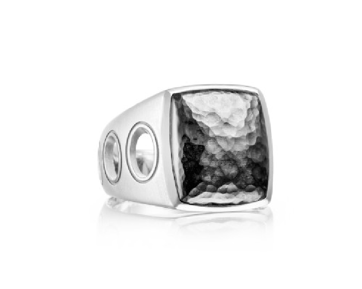 Tacori Gents Monterey Roadster Vented Satin Finish with 14X16mm Hammered Oxidised Centre Sterling Silver Ring