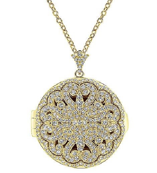 Round 1.21ctw Pave Diamond Encrusted Locket with Milgrain Design 14K Yellow Gold 24 Inch Cable Chain Necklace from the Lusso Collection by Gabriel & Co. - Serial No. S1041356