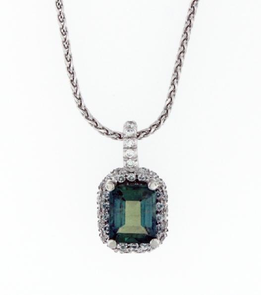 Emerald Cut Alexandrite 1.15ct set in 0.19ctw Pave set Diamond SI2-I1Clarity; FG Colour Platinum Pendant